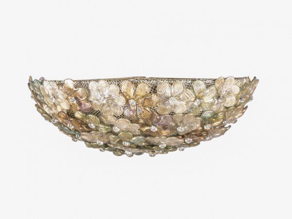 Plafoniera Fiori : Plafoniera a fiori di perline in vetro. italia murano anni 40